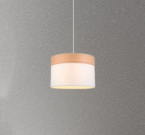 Pendant Light - Sleek Drum Shaped E27 200mm 72W White and Timber