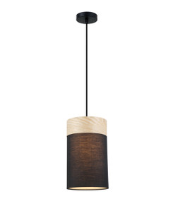 Pendant Light - Sleek Shaped E27 250mm 72W Black and Timber