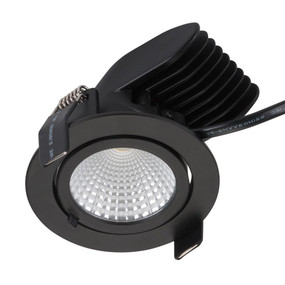 Gimble Downlight - Dimmable 13W 850lm IP20 3000K 96mm Matte Black