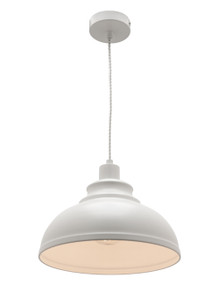 Pendant Light - Modern Dome 250mm 60W White Finish