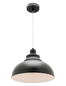 Pendant Light - Modern Dome 250mm 60W Black Finish