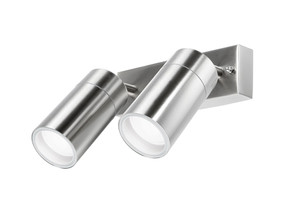 Spotlight - 2 x 240V Marine Grade 316 Stainless Steel Adjustable GU10 35W IP44 20cm