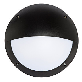Vandal Resistant Outdoor Wall Light - IK10 12W 500lm 4200K IP66 Eyelid Black