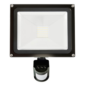 Flood Light With Sensor - 30W 3000lm IP65 4200K 275mm Black