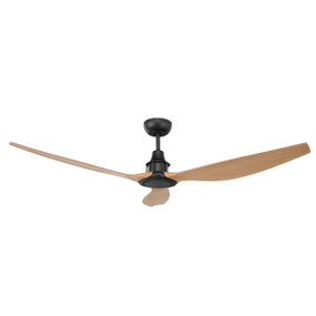 Elegant Black and Maple DC Ceiling Fan 58in 147cm - With Remote Control