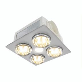 3-in-1 Bathroom Heater Fan Light - 370mm Silver