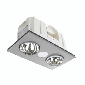 3-in-1 Bathroom Heater Fan Light - 419mm Silver