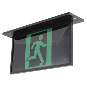 Emergency Exit Sign - LED 5W 24m Viewing Distance Recess Mount 2 Hours Black Commercial Grade