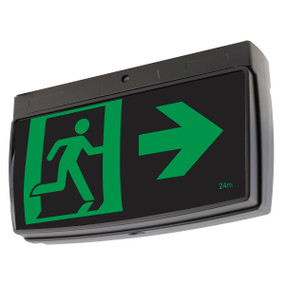 Emergency Exit Sign - LED 2W 24m Viewing Distance Surface Mounted 2 Hours Black Commercial Grade
