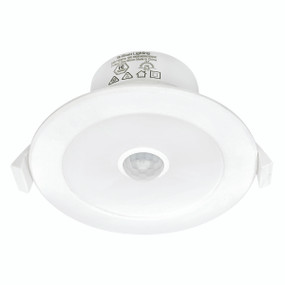 LED Downlight With Sensor - Dimmable 9W 840lm IP44 Tri Colour 95mm White