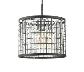 Pendant Light - 42W E27 280mm Faux Crystals Black
