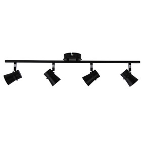 Ceiling Spotlight - 4 Adjustable 140W IP20 GU10 700mm Black