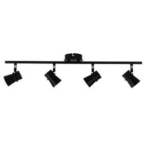 Ceiling Spotlight - 4 Adjustable 140W IP20 GU10 700mm Black