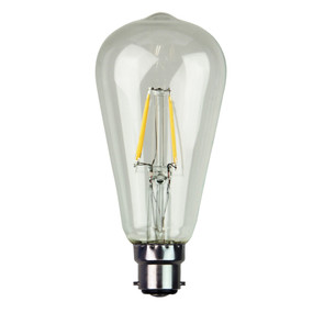 B22 LED Filament Globe - 4W 400lm B22 2700K Clear Dimmable