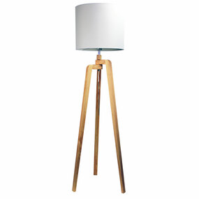 42W E27 Floor Lamp 1590mm Timber and White