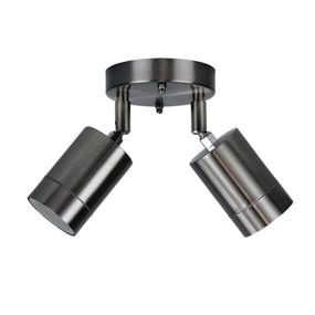 Ceiling Spotlight - 2 Adjustable 70W IP44 GU10 170mm Chrome