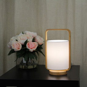 Table Lamp - 42W E27 325mm Timber and White
