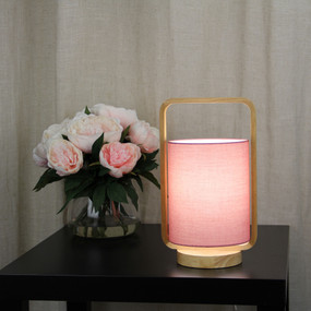Table Lamp - 42W E27 325mm Timber and Pink