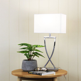 Table Lamp - 42W E27 520mm Chrome and White