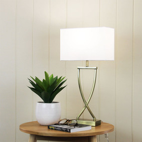 Table Lamp - 42W E27 520mm Antique Brass and White