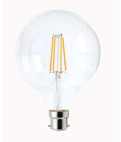 B22 LED Filament Globe - 8W 800lm IP20 6000K 170mm Clear Dimmable
