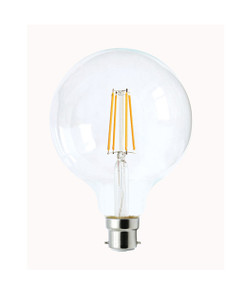 B22 LED Filament Globe - 6W 600lm IP20 6000K 140mm Clear Dimmable