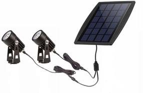 Solar Garden or Wall Spotlight Kit - 2 Lights with Built In Solar Panel