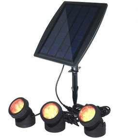 Solar Ground or Wall Spotlight Kit - 3 Lights IP68 3000K Adjustable