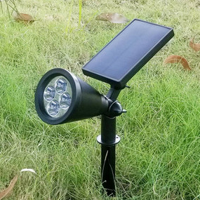 Solar Spike or Wall Spotlight - Built In Solar Panel Warm White