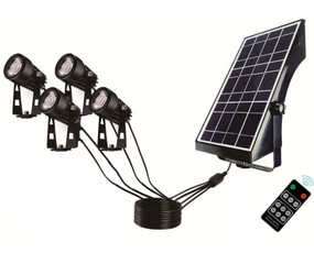 Solar Garden or Wall Spotlight Kit - Remote Control 4 Lights with Built In Solar Panel