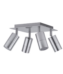 Ceiling Spotlight - 4 Adjustable 140W GU10 IP44 240mm Titanium