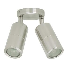 Marine Grade Ceiling Spotlight - 2 Adjustable 316 Stainless Steel 70W GU10 IP65 3000K 175mm