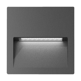 Wall Light - Vandal Resistant 4W 200lm IP65 IK08 3000K 115mm Square Dark Grey