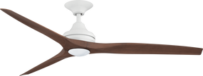 Ceiling Fan With Light - 152cm 60in 80W Matte White and Walnut 3 Speed