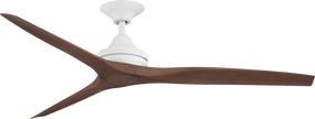 Ceiling Fan - 152cm 60in 80W Matte White and Walnut 3 Speed