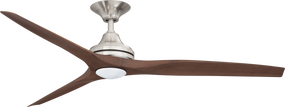 Ceiling Fan With Light - 152cm 60in 80W Brushed Nickel and Walnut 3 Speed