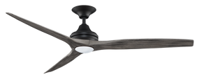 Ceiling Fan With Light - 152cm 60in 80W Black and Weathered Wood 3 Speed