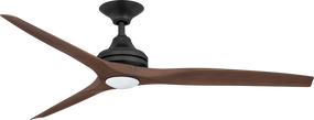 Ceiling Fan With Light - 152cm 60in 80W Black and Walnut 3 Speed