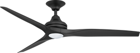 Ceiling Fan With Light - 152cm 60in 80W Black 3 Speed