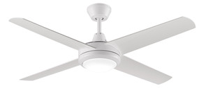 Ceiling Fan With Light - 132cm 52in 58W White 3 Speed