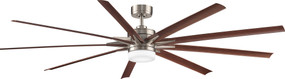 Ceiling Fan With Light and Remote - 213cm 84in 35W Brushed Nickel and Walnut 6 Speed