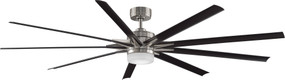 Ceiling Fan With Optional Light Kit and Remote - 213cm 84in 35W Brushed Nickel and Black 6 Speed