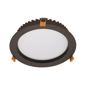 Iri LED Downlight - Dimmable 28W 2400lm IP44 Tri-Colour 228mm Black Commercial Grade