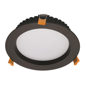 LED Downlight - Dimmable 20W 1800lm IP44 Tri-Colour 190mm Black Commercial Grade