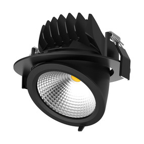 Gimble Downlight - Dimmable 25W 1800lm IP20 3000K 180mm Black Commercial Grade