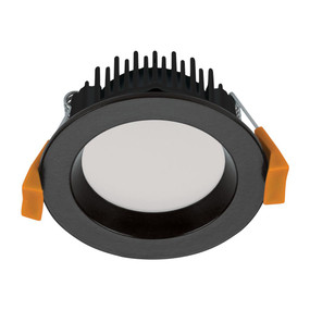 LED Downlight - Dimmable 8W 800lm IP44 Tri-Colour 85mm Black
