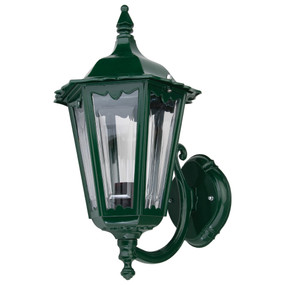 Outdoor Period Wall Light - 240V B22 IP43 422mm Green Up Facing Made in Italy