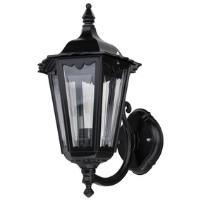 Outdoor Period Wall Light - 240V B22 IP43 422mm Black Up Facing Made in Italy