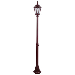 Single Head Post Light - 240V B22 IP43 1930mm Burgundy Made In Italy