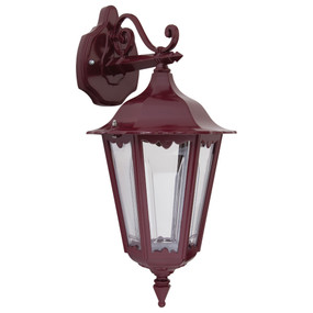 Outdoor Wall Light - 240V B22 IP43 510mm Burgundy Down Facing Made in Italy